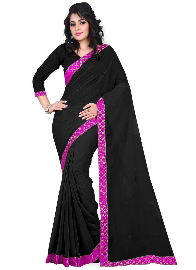 Enchanting Black Color Stone Work Casual Saree