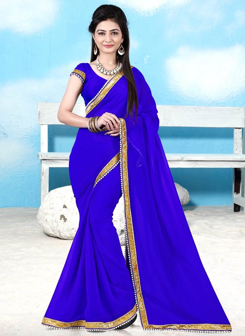 Enchanting Blue Color Beads Work Casual Saree
