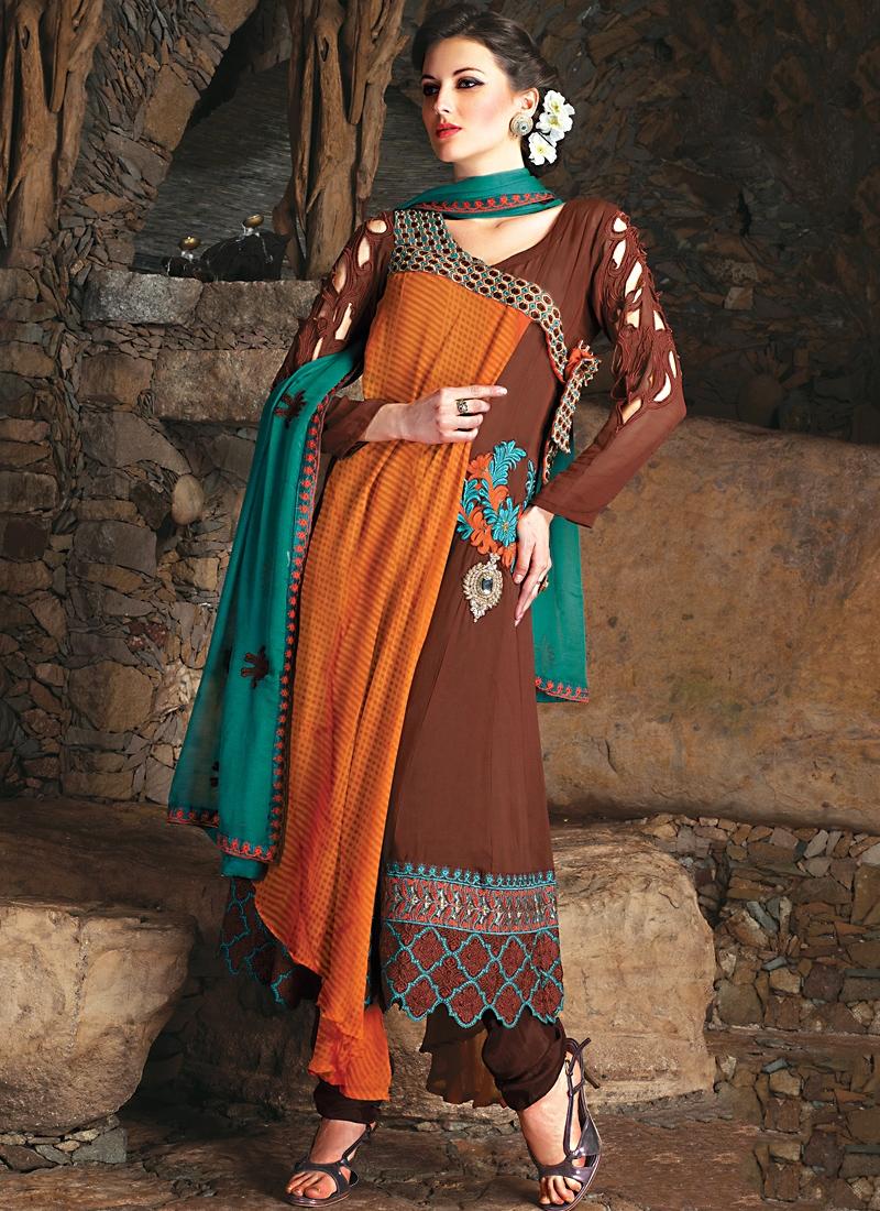 Enchanting Brown Orange And Teal Salwar Kameez