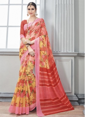 Enchanting Digital Print Work Art Silk Trendy Classic Saree