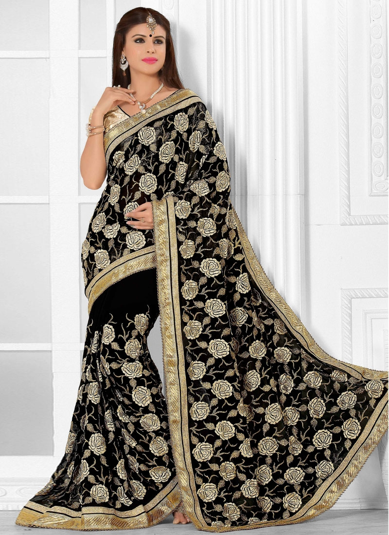Enchanting Faux Georgette Designer Saree