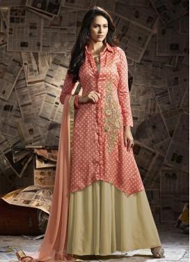 Enchanting  Faux Georgette Jacket Style Salwar Kameez
