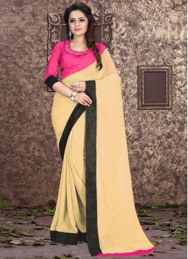 Enchanting Faux Georgette Lace Work Casual Saree