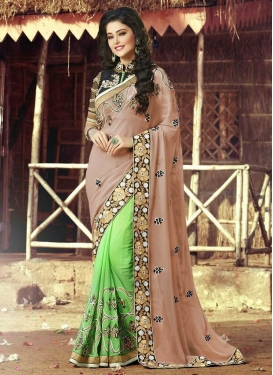 Enchanting Mint Green Color Half N Half Designer Saree