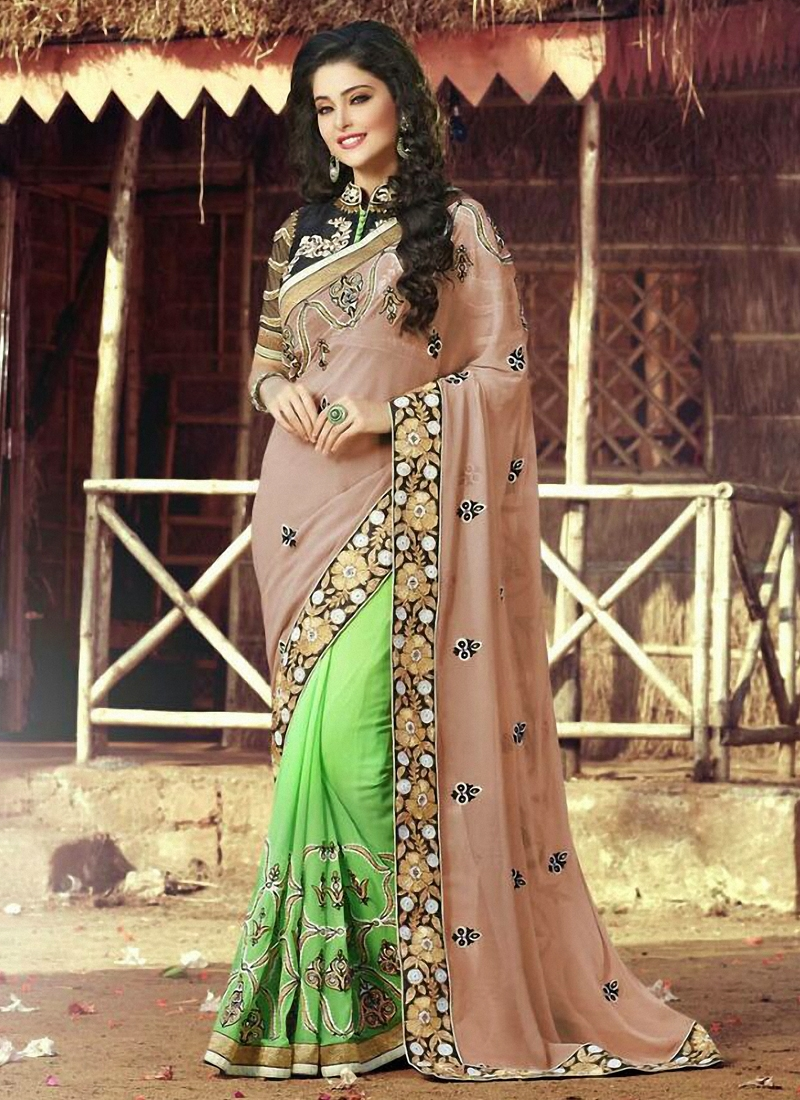 Enchanting Mint Green Color Half N Half Designer Saree