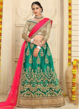 Enchanting Net Green and Rose Pink Booti Work A - Line Lehenga