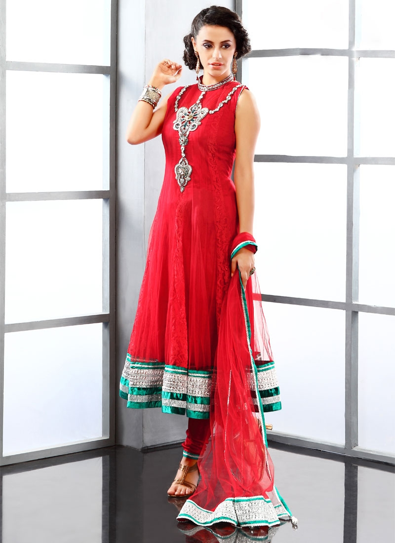 Enchanting Red Color Readymade Salwar Suit