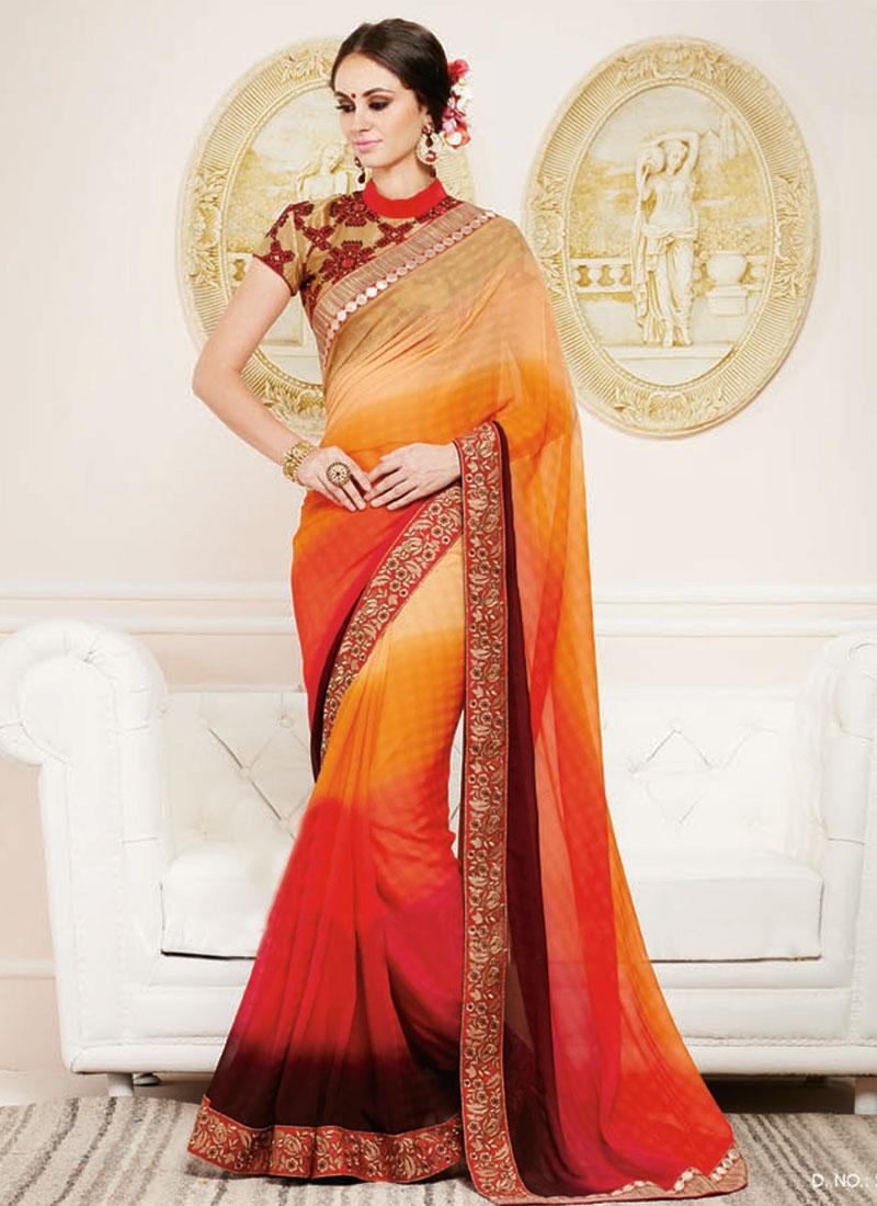 Enchanting Resham Work Party Wear Saree