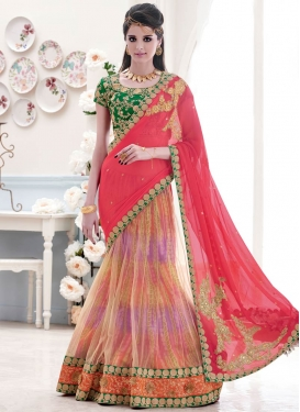 Enchanting Sequins And Lace Work Designer Lehenga Saree