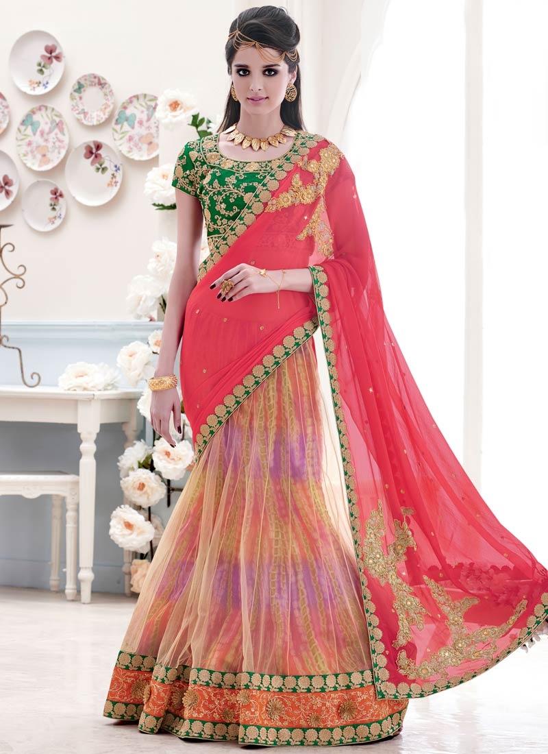 Enchanting Sequins And Lace Work Designer Lehenga Saree
