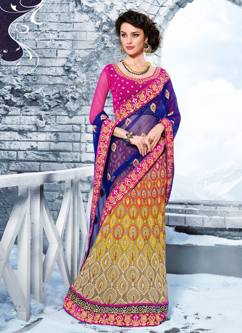 Enchanting Stone Enhanced Net Lehenga Saree