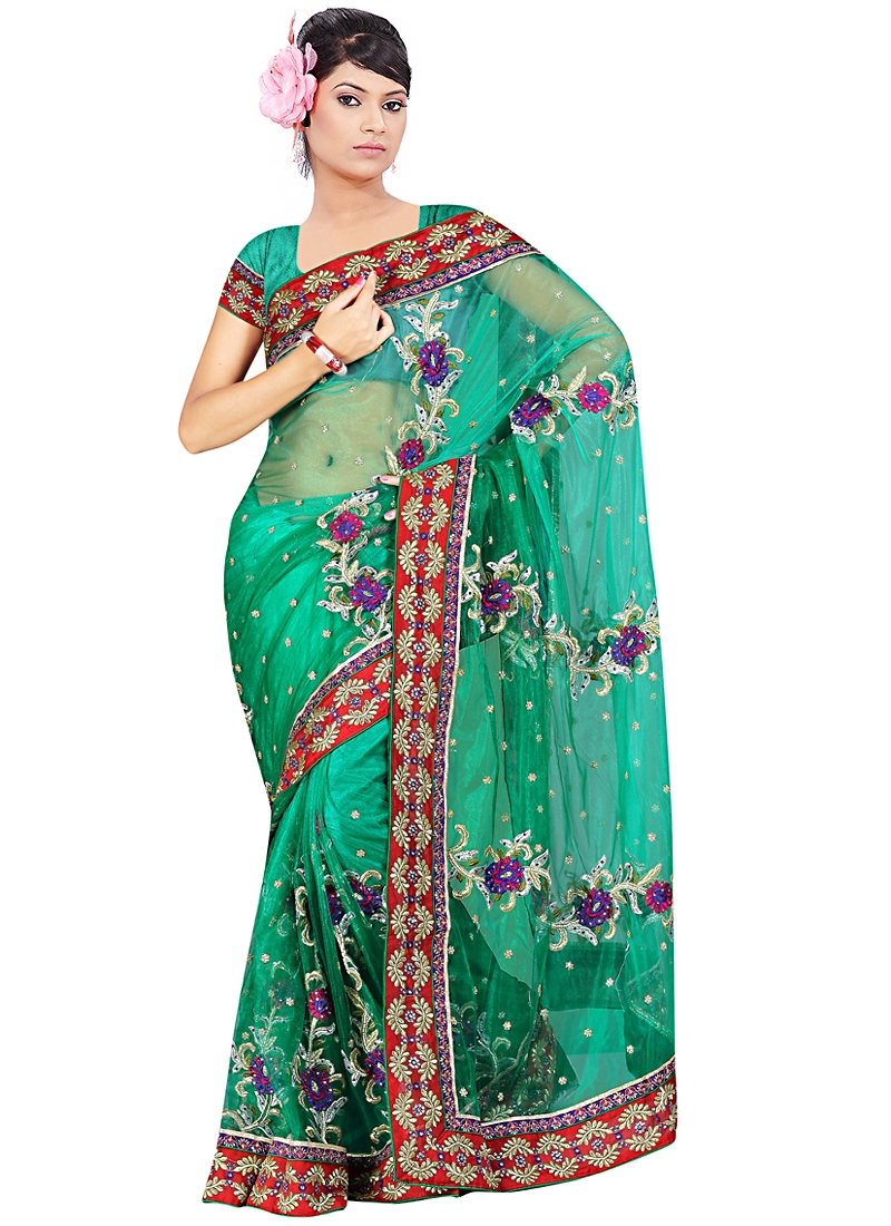 Enchanting Turquoise Color Net Saree