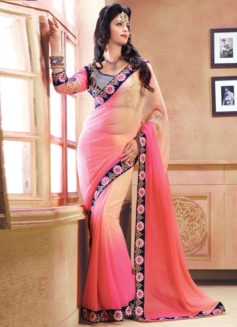 Energetic Aari Work Chiffon Party Wear Saree