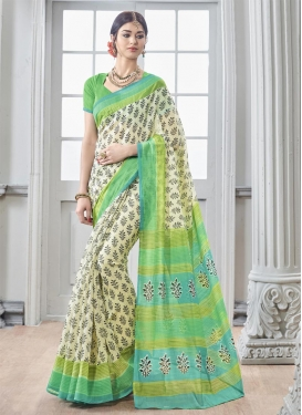 Energetic Aloe Veera Green and Cream Classic Saree