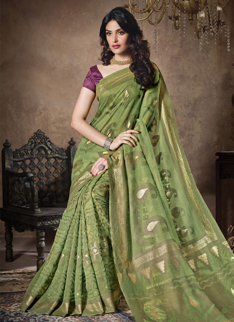 Energetic Aloe Veera Green Color Casual Saree