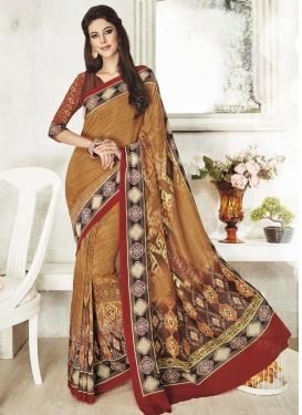 Energetic Art Silk Print Work Contemporary Style Saree For Ceremonial
