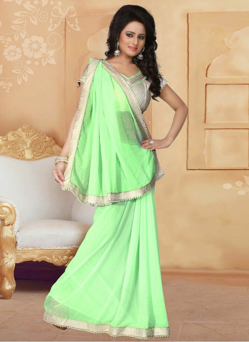 Energetic Beads Work Mint Green Color Party Wear Saree