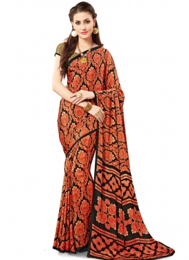 Energetic Black and Coral Print Work Trendy Classic Saree