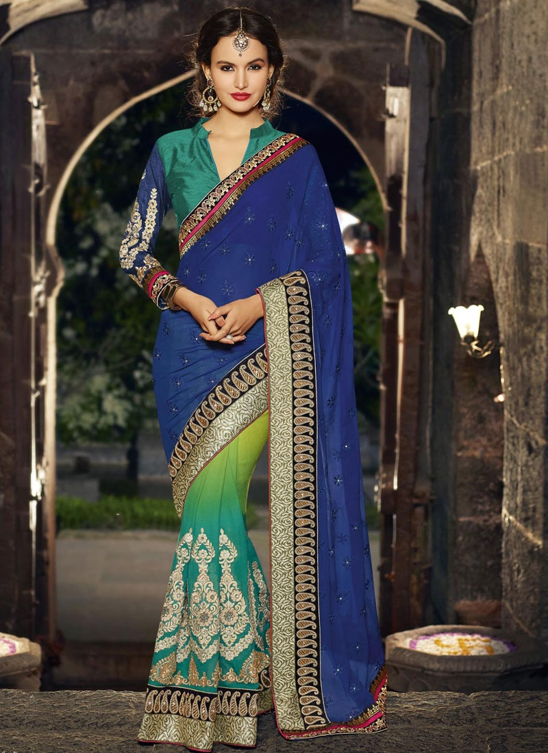 Energetic Blue Color Lace Work Wedding Saree