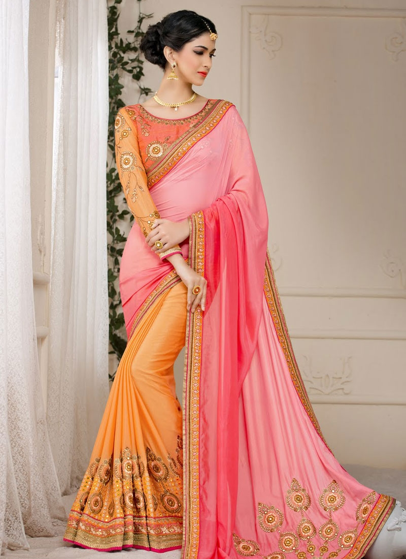 Energetic Booti Work Silk Half N Half Wedding Saree