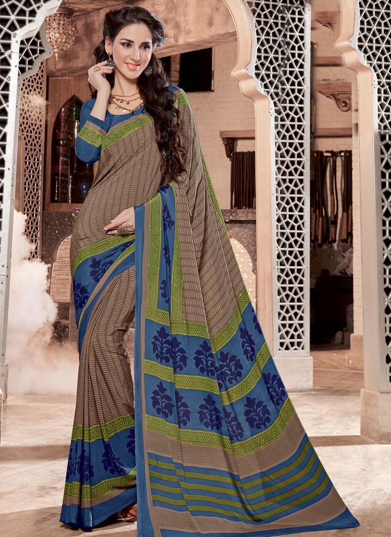 Energetic Brown Color Print Casual Saree