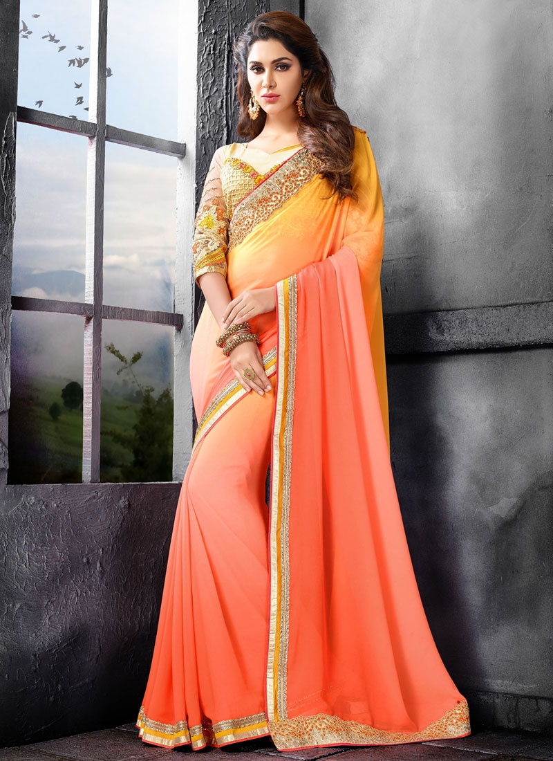 Energetic Coral Color Faux Georgette Party Wear Saree