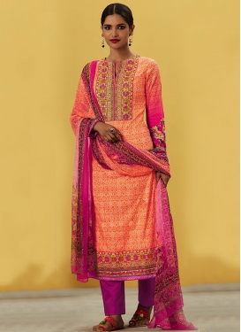 Energetic Cotton  Coral and Fuchsia Digital Print Work Pakistani Straight Salwar Kameez