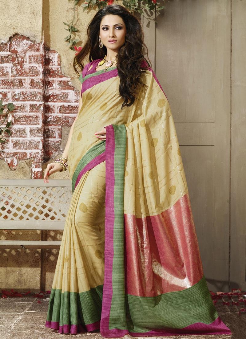 Energetic Cream Color Art Silk Casual Saree