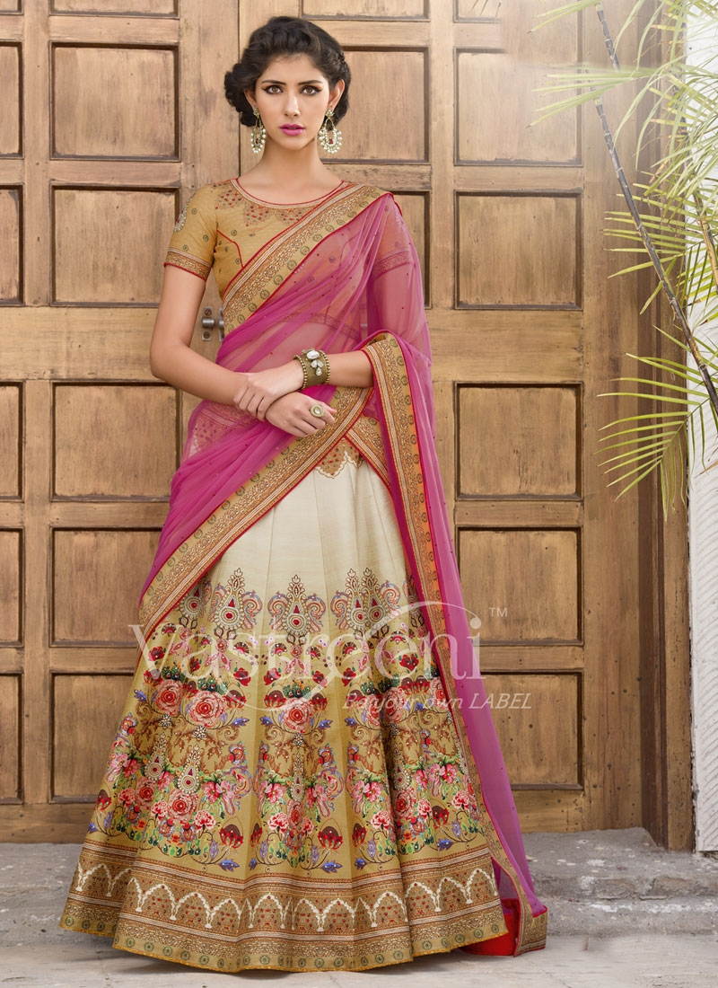 Energetic Digital Print Work Beige Color Designer Lehenga Choli