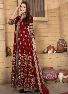 Energetic Embroidered Work Crimson Long Length Suit