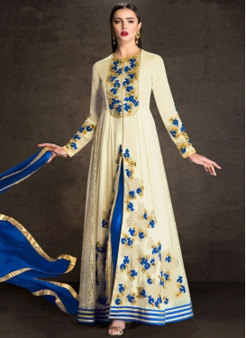 Energetic Embroidered Work Floor Length Designer Suit