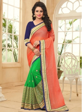 Energetic  Embroidered Work Half N Half Saree