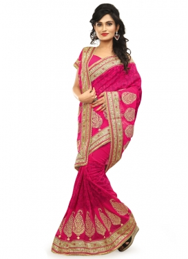 Energetic Embroidery And Stone Work Bridal Saree