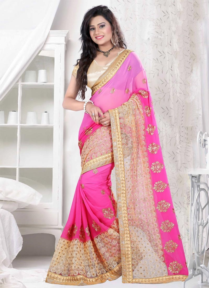 Energetic Embroidery Work Party Wear Saree