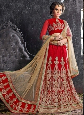 Energetic Embroidery Work Red Color Wedding Lehenga Choli