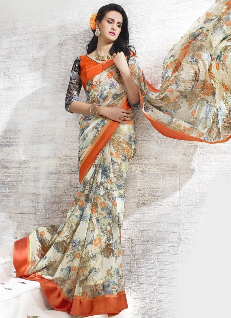 Energetic Faux Georgette Cream Color Casual Saree