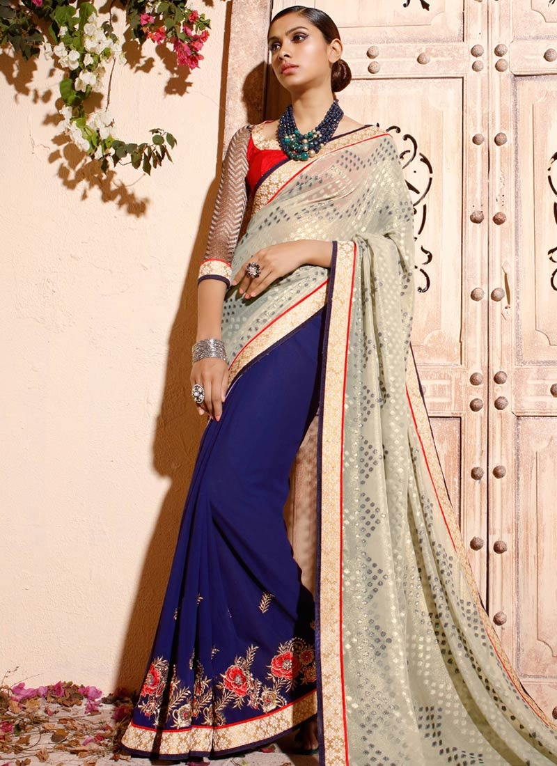 Energetic Floral And Stone Work Half N Half Party Wear Saree