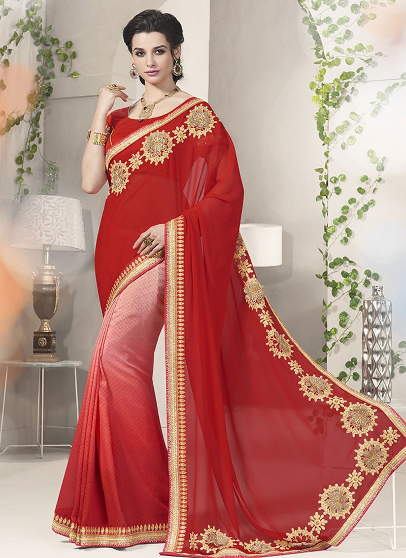 Energetic Jacquard And Faux Georgette Party Wear Saree