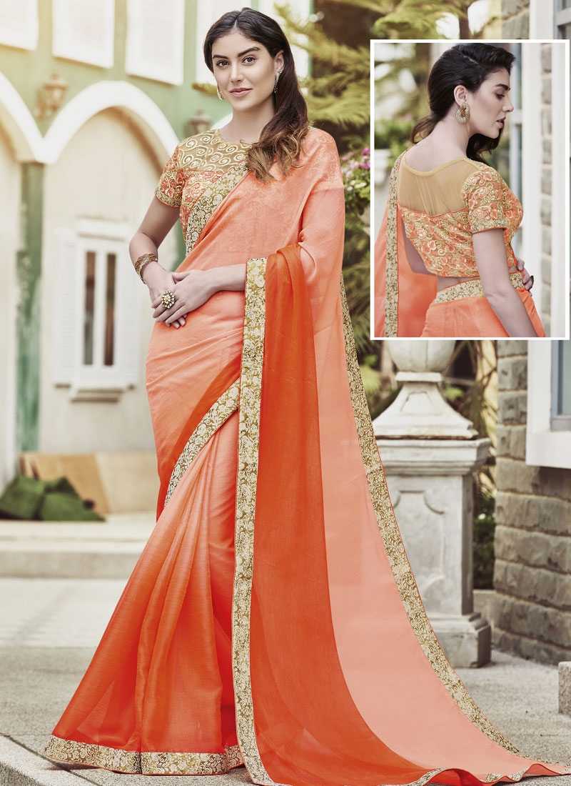 Energetic Lace Work Chiffon Satin Party Wear Saree
