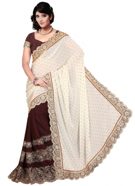 Energetic Lace Work Off White Color Half N Half Party Wear Saree