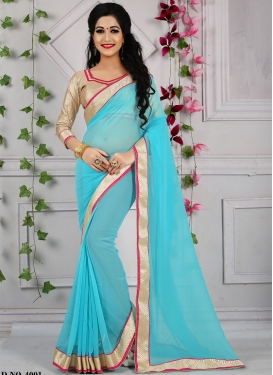 Energetic Light Blue Color Casual Saree