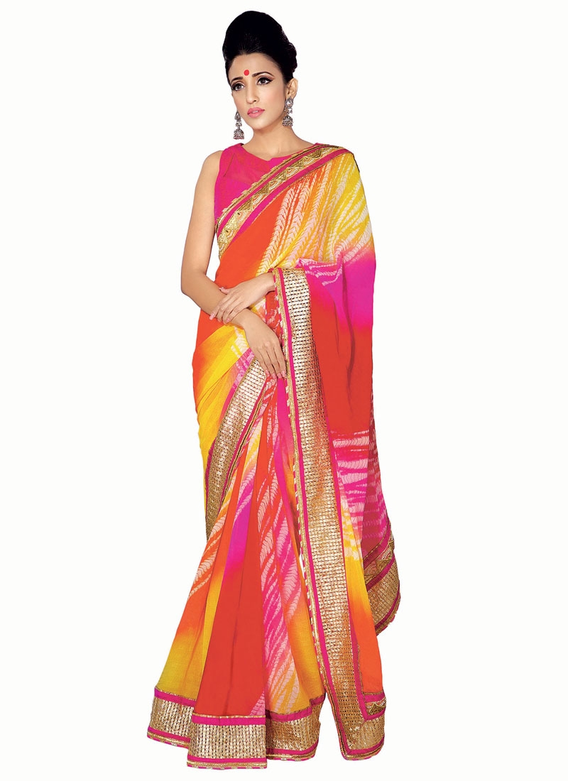 Energetic Multi Color Lace Work Party Wear Saree