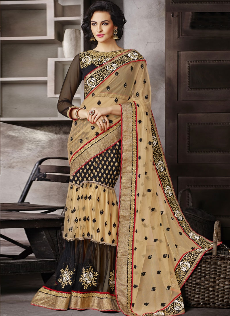 Energetic Multi Work Beige And Black Color Lehenga Saree