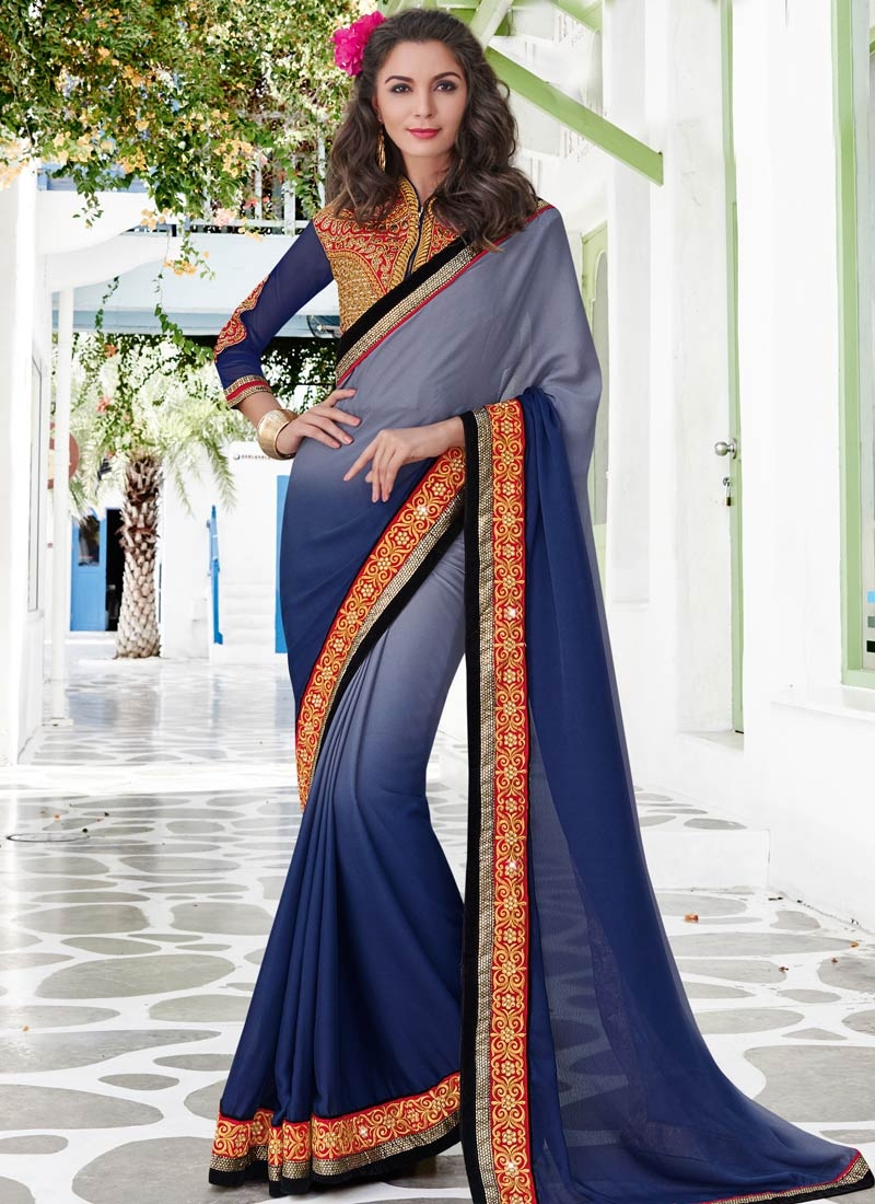 Energetic Navy Blue And Grey Color Party Wear Saree