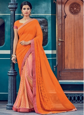 Energetic Orange and Peach Lace Work Half N Half Trendy Saree For Ceremonial