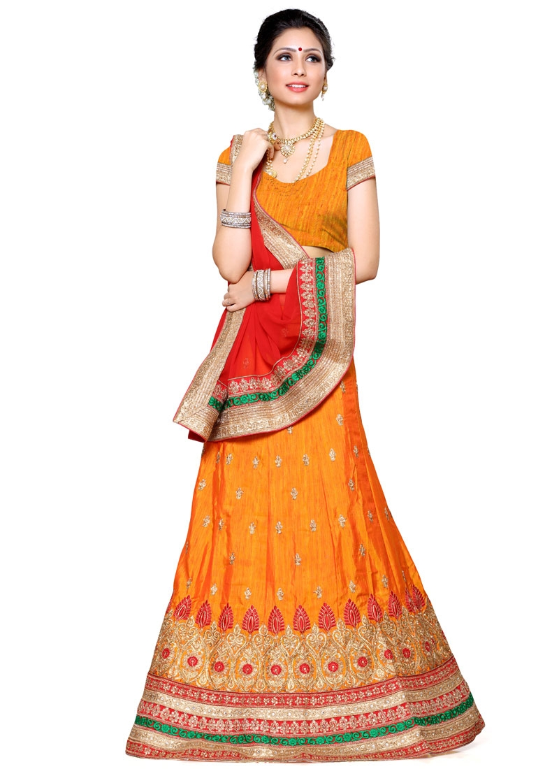 Energetic Orange Color Silk Designer Lehenga Choli