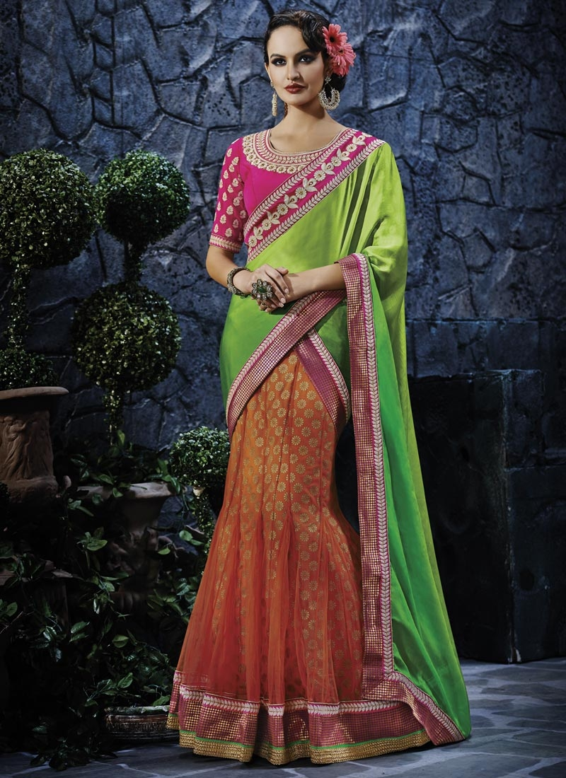 Energetic Resham And Lace Work Lehenga Saree