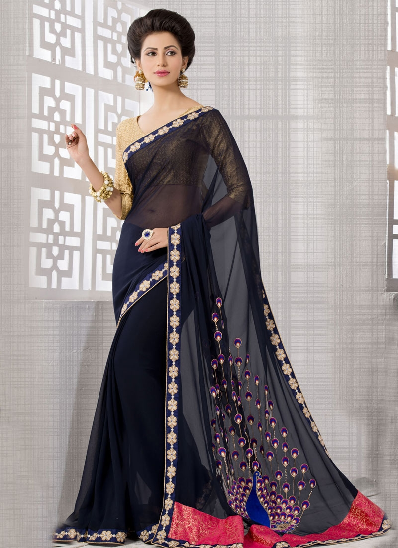 Energetic Resham And Lace Work Party Wear Saree