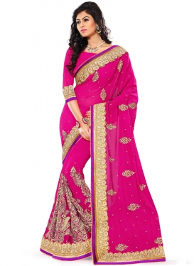 Energetic Resham Work Magenta Color Designer Saree