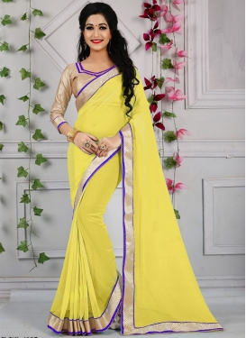 Energetic Resham Work Yellow Color Casual Saree